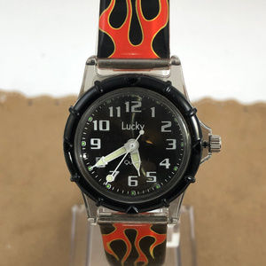 Vintage  Plastic Lucky Watch Time up in Flames